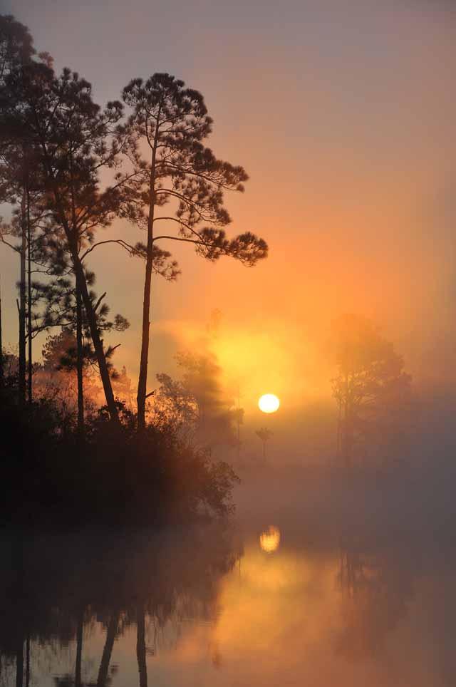 Tag 60 127 Spektakulärer Sonnenaufgang am Lake Rogers. In der Nacht hatte es gefroren, über dem Wasser war Nebel.